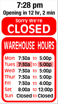 Showroom Hours Sign
