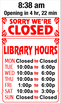 Business Hours for Southwest%20City%20Library