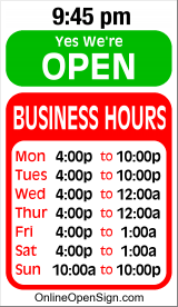 Business Hours for Rigby%27s