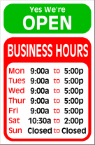 Modern Hours Sign